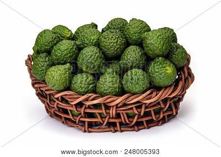 Citrus Hystrix, In Basket Of Wicker, Bergamot Fruit For Herbal Medicine