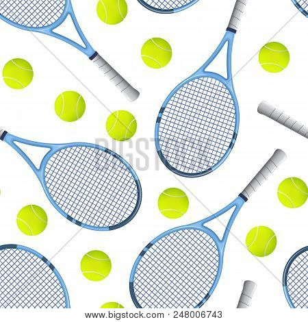Realistic Detailed 3d Tennis Racket And Ball Seamless Pattern Background On A White Equipment For Co