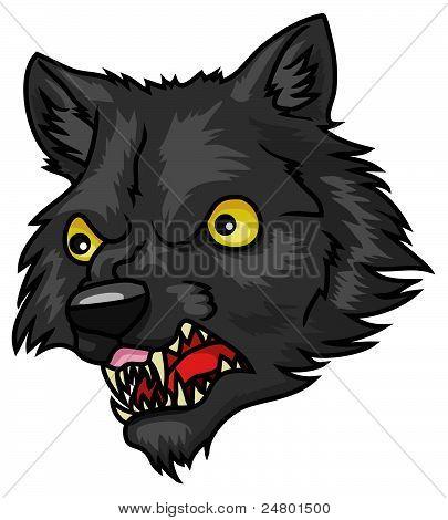 A very detailed cartoon halloween werewolf head or mask. poster