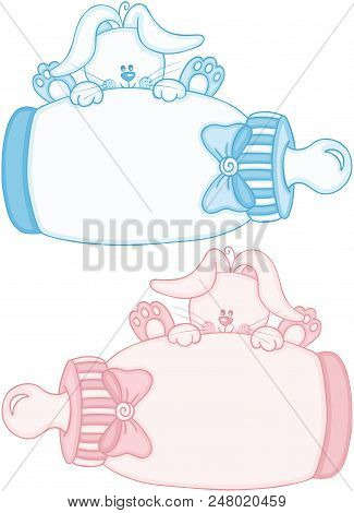 Scalable Vectorial Representing A Blue And Pink Cute Bunny With Baby Milk Bottle, Element For Design