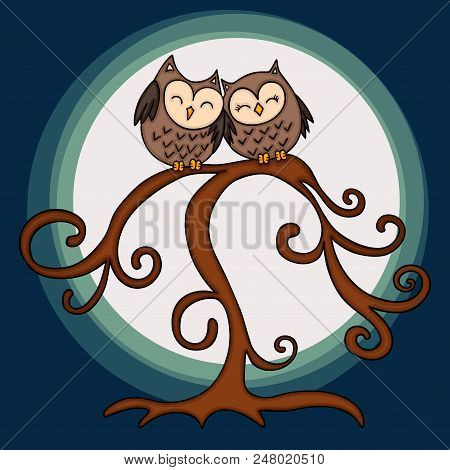 Scalable Vectorial Representing A Couple Of Owl In Tree On Night Background, Illustration For Design