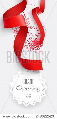 Grand Opening You Are Invited Lettering With Red Ribbons. Text In Geometric Frame With Falling Ribbo