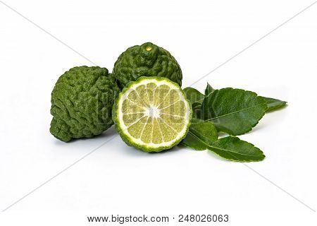 Bergamot Fruit Kaffir Limes And Green Leaves For Herbal Products On A White Background
