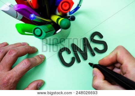 Text Sign Showing Cms. Conceptual Photo Content Management System Supports Modification Of Digital C