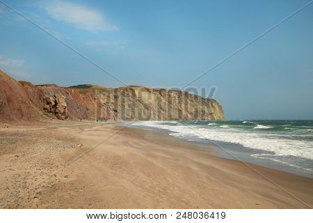 Nice beach and cliffs at Havre aux maisons at Magdelen island in Quebec in Canada