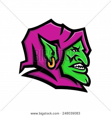 Mascot Icon Illustration Of Head Of A Goblin, A Monstrous Creature From European Folklore, That Is S