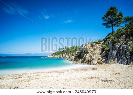 Beautiful sea and beach with long exposure shot -Sithonia, Halkidiki, Greece