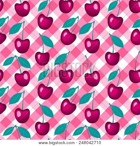 Cherry On A Checkered Pink Vichy Background. Vector Seamless Pattern.