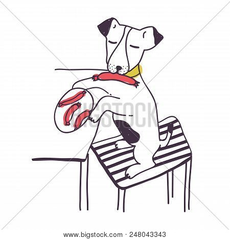 Amusing Dog Stealing Sausage Or Food From Table. Funny Mischievous Doggy Isolated On White Backgroun