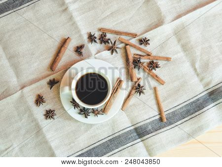 Coffee Cup And Spices On  Table. View From Above