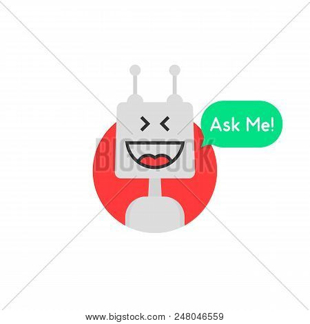 Chat Bot Icon Like Chatbot Robot. Flat Trend Modern Logotype Graphic Simple Design Isolated On White