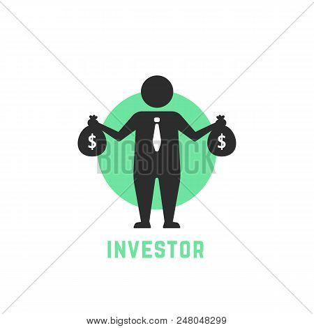 Money Benefit Symbol With Investor Icon. Concept Of Small Business Seller Or Advantage Start Up. Fla