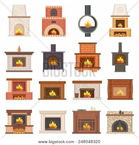 Luxurious Stylish Brick And Wooden Fireplaces Set. Fireplace As Interior Design Element And Source O