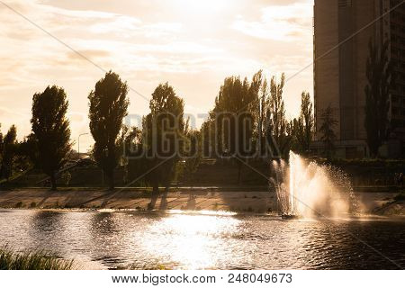 Kiev, Ukraine. Fountains On The Bank Of The River. Kiev, Ukraine. Fountains On The Bank Of The River