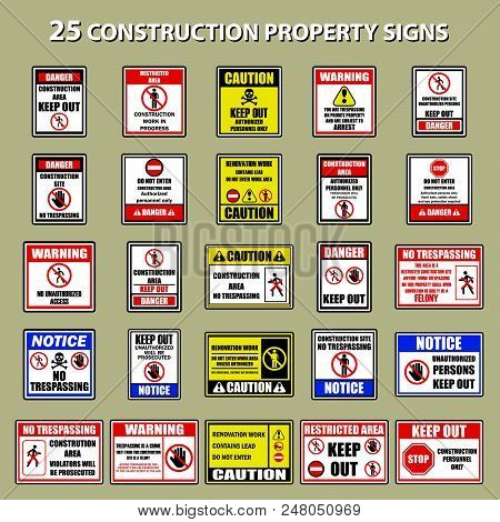 Set Of Private Property No Trespassing Warning Sign For Signboard Or Label. Vector Illustration