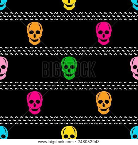 Seamless Pattern With Colorful Skulls On The Black Background. Vector Illustration