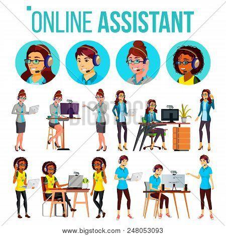 Online Assistant Woman Set Vector. Online Global Tech Support 24 7. Advises Client. Headphone, Heads