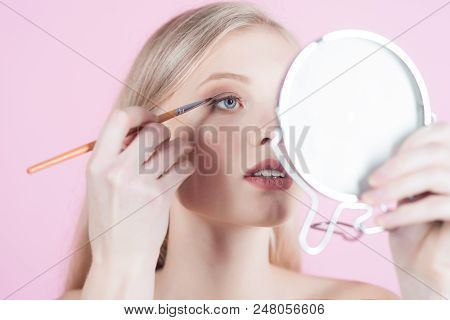 Light Make Up. Natural Beauty. Skincare Facial Treatment Concept. Girl Model With Makeup Brush Near