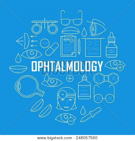 Ophthalmology Concept With Thin Line Icons. Oculist Optometry Pictograms. Human Eyes Vision Diagnosi