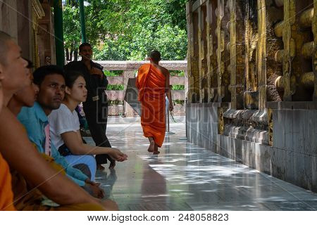 Bodhgaya, India - Jul 9, 2015. Prayers At Mahabodhi Temple Complex. The Mahabodhi Vihar Is A Unesco