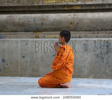 A Novice Monk Praying At The Temple