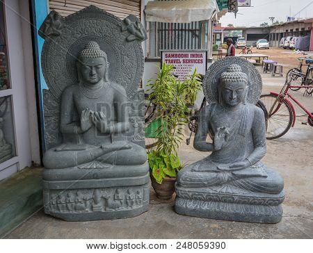 Bodhgaya, India - July 9, 2015. Buddha Statues For Sale In Bodhgaya, India. Bodhgaya Is The Most Rev