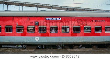Gaya, India - Jul 10, 2015. A Train Stopping At Railway Station In Gaya, India. Gaya Is A Holy City