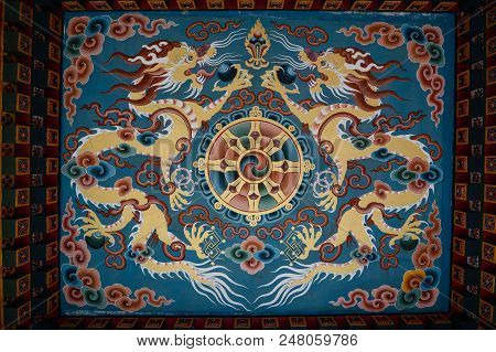 Bodhgaya, India - July 9, 2015. Decorations Of Bhutanese Buddhist Temple In Bodhgaya, India. Bodh Ga