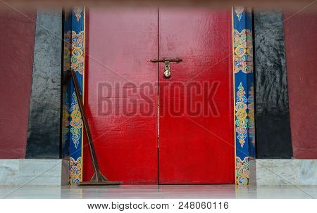 Wooden Door Of Ancient Bhutanese Buddhist Temple In Bodhgaya, India. Bodh Gaya Is The Most Revered O
