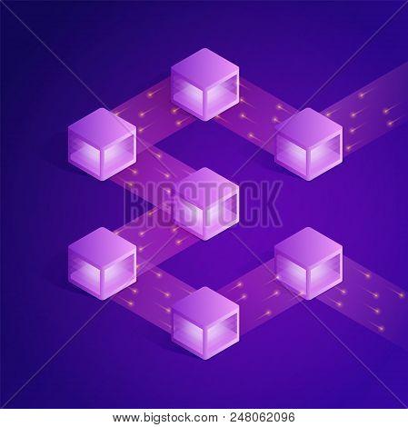 Blockchain Isometric Composition. Modern Concept Of Digital Technology