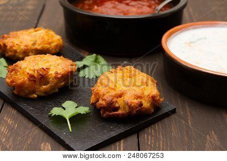 Asian Snacks  A Selection Of Asian Sacks With Mango Chutney And Raita