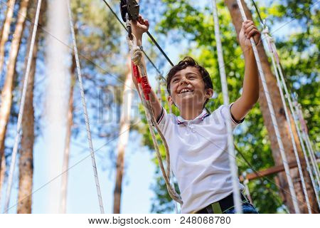 Brave kid. Happy preteen boy having fun at adventure park and smiling happily while walking down trails poster