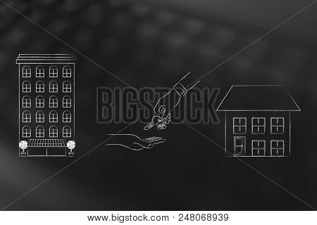 Young People And Housing Conceptual Illustration: Condo Apartment Building Vs Detatched House With H
