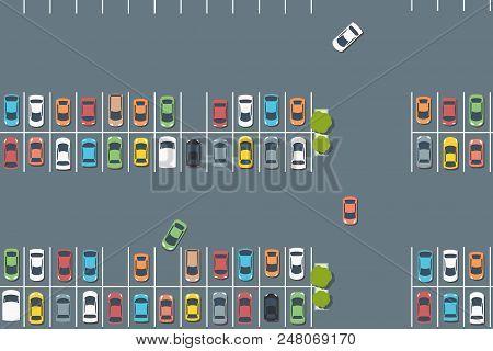 Parking Lot Graphics - Vector Car Park Infrastructure Illustration.