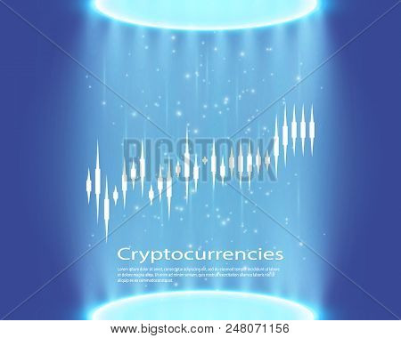Graph Of Cryptocurrency. Graphics And Analytics Of Cryptography. Vector Illustration.