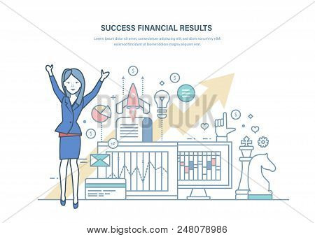 Success Financial Results, Successful Business Project. Growth Economic Indicators, Commercial Prosp