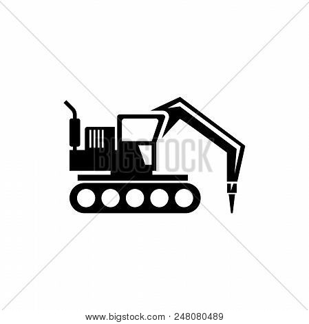 Excavator With Hammer, Drill Machine. Flat Vector Icon Illustration. Simple Black Symbol On White Ba