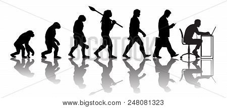 Theory Of Evolution Of Man. Silhouette With Reflection. Human Development From Monkey To Caveman, Mo