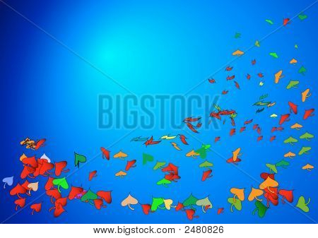 Vector - Flying Leafs In The Sky.A Vector - Illustration
