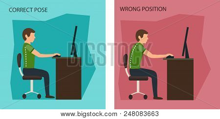 Ergonomic. Wrong And Correct Sitting Posture. Healthy Back And Posture Correction. Office Desk Postu