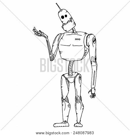 Cute Robot Vector Character. Robot Technology Machine Future Science Toy. Cyborg Futuristic Design R