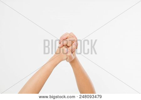 Success Hand Isolated On White Background. Copy Space.