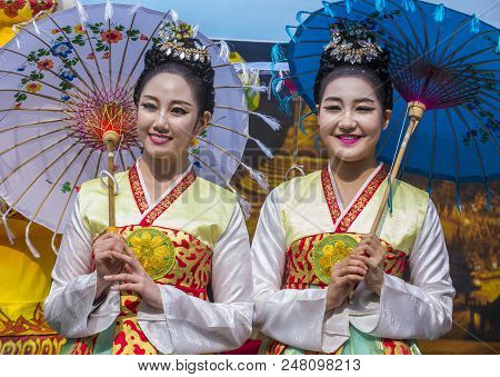 Seoul - May 11 : Portrait Of A Burmese Traditional Dancers During Lotus Lantern Festival In Seoul ,