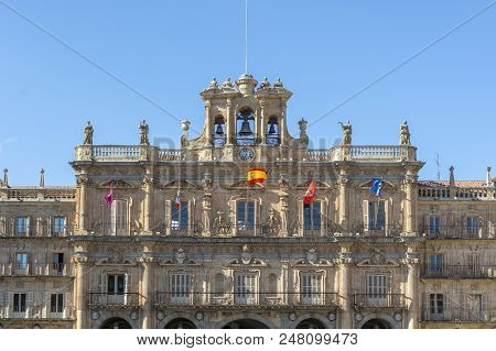 Facade Of The Town Hall In The Center Of The Main Square In Salamanca, Spain
