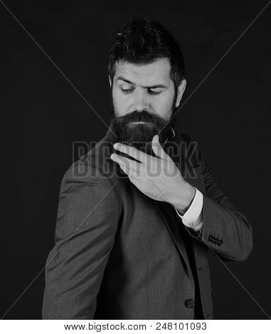 Success And Elegance Concept. Office Manager Or Ceo With Stylish Beard And Moustache. Businessman Wi