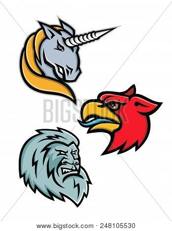 Mascot icon illustration set of heads of legendary or mythical creatures like the unicorn,griffin, griffon, or gryphon, the yeti or abominable snowman viewed from side  on isolated background in retro style. poster