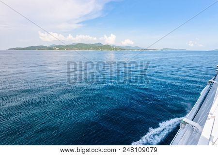 Beautiful Natural Landscape Of Sky And Blue Sea While Travel By Speed Boat In Summer To Ko Pha Ngan