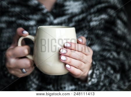 Beautiful Young Woman With Cup Of Coffee At Home A