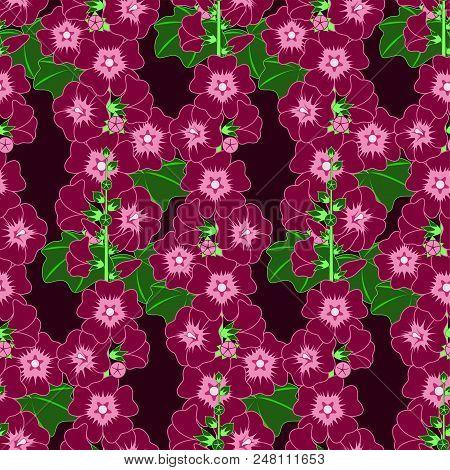 Purple Mallow Flower, Seamless Pattern. Vector Illustration