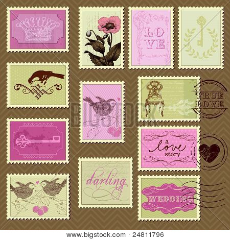 Retro Postage Stamps - For Wedding Design, Invitation, Congratulation, Scrapbook